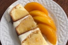 Bourbon Pouched Peaches served with our lemon pound cake